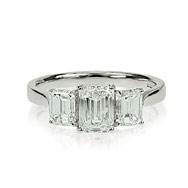 Emerald Cut Trilogy Engagement Ring
