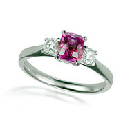 Pink Sapphire & Diamond Trilogy Engagement Ring