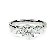 Princess Cut Trilogy Engagement Ring