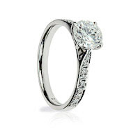 Round Diamond & Pave Solitaire Engagement Ring