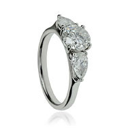 Round Diamond & Pear Shape Trilogy Engagement Ring