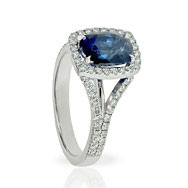 Sapphire Cushion Halo  Engagement Ring